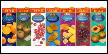 Stute Foods launches juice range in new four Price-Marked Pack case format