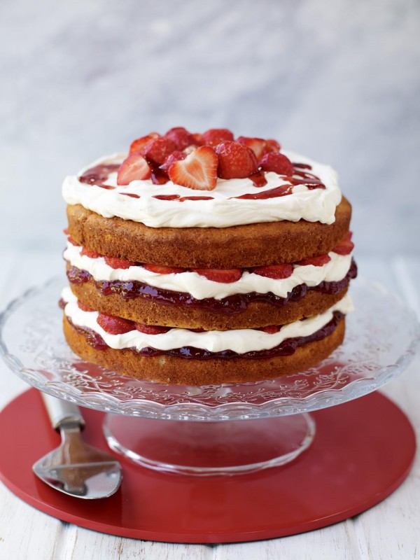 Naked Strawberry Layer Cake